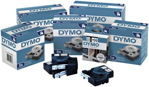 Labeltape Dymo 45010 D1 720500 12mmx7m zwart op transparant-1