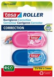 Correctieroller Tesa 5mmx6m mini roze en blauw blister à 2 stuks