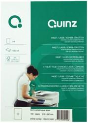 ETIKET QUINZ 1/VEL 210X297 MM WIT 100 STUK