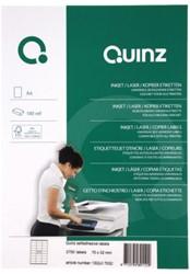 ETIKET QUINZ 27/VEL 70X32 MM WIT 100 STUK