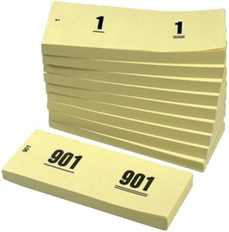 Nummerblok 42x105mm nummering 1-1000 geel 10 stuks