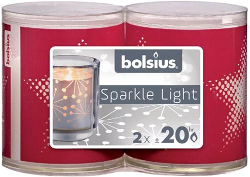 Kaars Bolsius Sparkle light ster rood set à 2 stuks