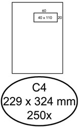 Envelop Hermes C4 229x324mm venster 4x11rechts zelfkl 250st